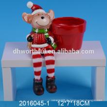 Nette Miniweihnachtsblumentöpfe keramischer Hirschpflanzer für Großverkauf
