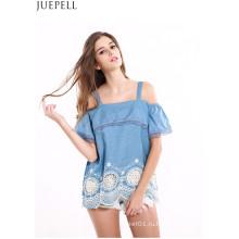 Женщин Шить Кружева Воланами Подол Вышитые Топы Без Бретелек Волнистый Жгут Свободные Мода Рубашка Блузка