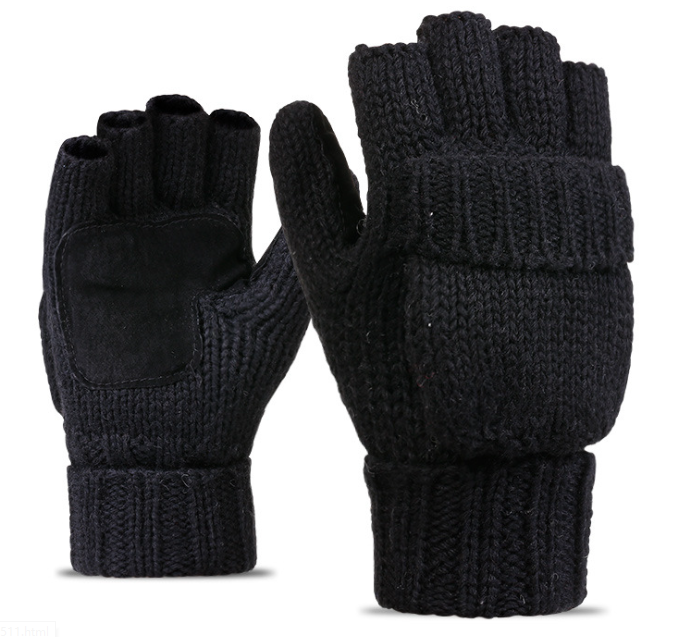 Leather Palm Acrylic Knitting Gloves Grey