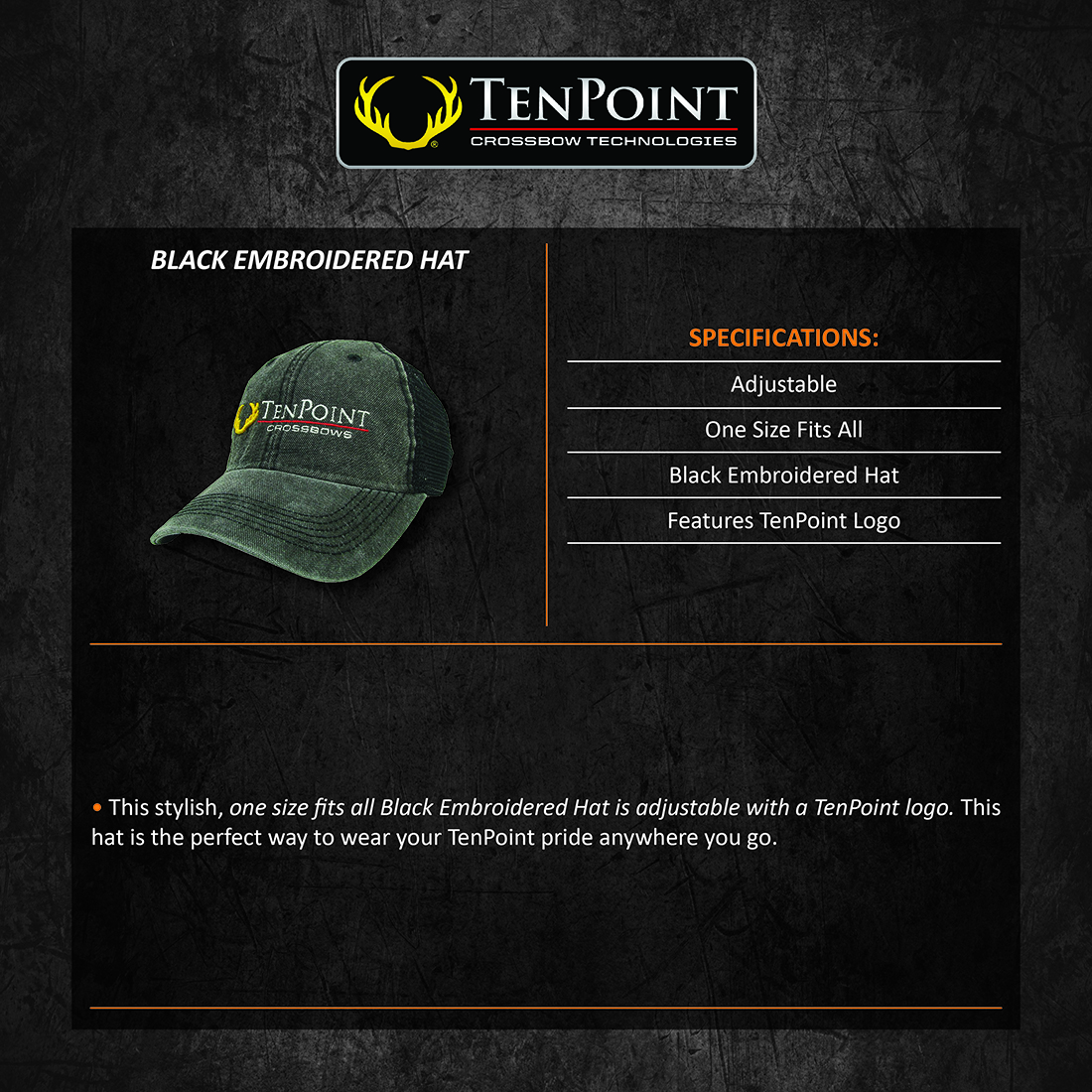 TenPoint_Black_Embroidered_Hat_Product_Description