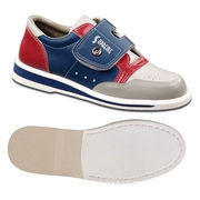 Unisex Bowling Shoes with Gray Action Leather and Gray/Blue/Red Soft Man-made Uppers