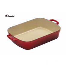 Rectangle Classic Enameled Cast Iron Roasting pan Stylish Red