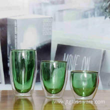Green Color Double Wall Glass Coffee Cup