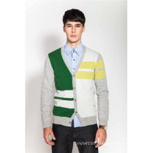 V-Neck Color Block Men Knit 100%Cashmere Cardigan