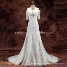 2017 кружева бусины тюль и атласная-линии свадебное платье с реальными фотографиями