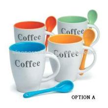 Tasse en céramique classique avec une cuillère avec logo de café pour BS06100