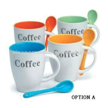 classic ceramic mug with spoon with coffee logo for BS06100