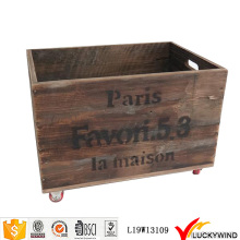 Recycle Vintage Fruit Wooden Crate on Wheels
