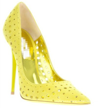 12cm 10cm 8cm stiletto heel yellow rivets pointed toe hollow out sexy women dress shoes