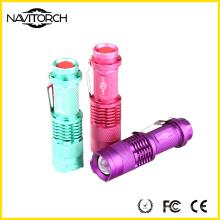Multi Colors 3 modos de antorcha / linterna de LED de aluminio fluorescente (NK-671)
