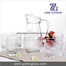 7PCS Glass Water Set with Rose Embossed