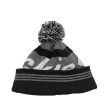 fashion Beanie with jacquard logo and pom pom