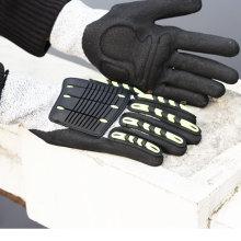 NMSAFETY anti impacto & corte usar 13g anti forro de corte com TPR em luvas de trabalho de volta