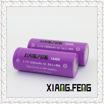 3.7V Xiangfeng 18490 1200mAh 16.5A Imr Rechargeable Lithium Battery 18490