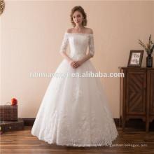 Heißer Verkauf des Verkaufs 2018 geben Schulterbodenlänge Hochzeitskleid-Brautkleid 2018 mit halben Entwurfsärmeln an