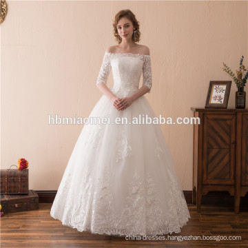 2018 hot sell white color offer shoulder floor length wedding dress bridal gown 2018 with half design sleeves