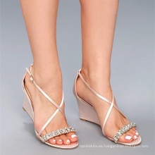 SEXY CRYSTAL LITTLE CHAMPAGNE SATIN WEDGE VESTIDO SANDALIAS