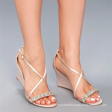 SEXY CRYSTAL LITTLE CHAMPAGNE SATIN WEDGE DRESS SANDALS