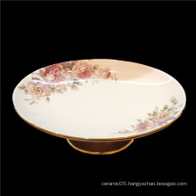 New  porcelain  tableware ceramic plate design  oval  plate  for hotel  ceramic tall foot fruit plate