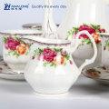 Rose Pattern Plain Design Royal Set de café de porcelana estilo conjunto de chá, Gift Box Set de café de embalagem