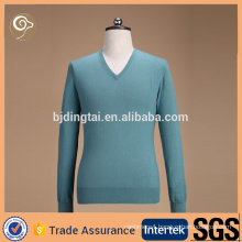 Knitted V neck cotton men cashmere sweater