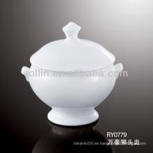 Buena calidad plato de sopa de porcelana blanca china con soporte