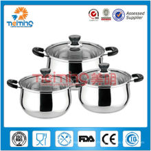 Soupe en acier inoxydable de 6 pcs et pots de stock avec couvercle en verre
