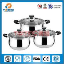6 pcs sopa de aço inoxidável e panelas com tampa de vidro