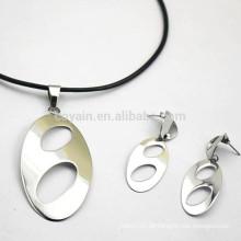 Import Silver Blank Metall Oval Anhänger mit Löchern