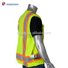 ANSI / ISEA 100% Poliéster Respirável Alta Visibilidade Colete de Segurança Jaqueta Durável Workwear De Segurança Com Duas Tiras Refletivas de Tom