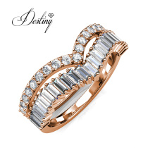New Arrival 2021 18K Gold Plated 2 in 1 Double Baguette Wishbone Ring Women Jewelry
