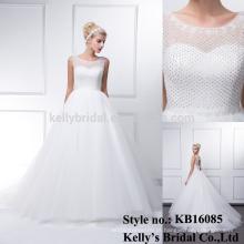 Mais recente manga longa e elegante vestido de design vestido de casamento sweetheart China feito sob encomenda de pérola de cristal de contas de renda vestido de noiva