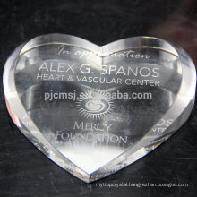 Wholesale Crystal Glass Paperweight with Heart Shape for Office Decoration