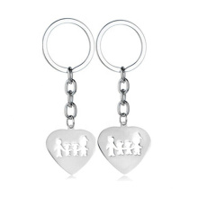 Stainless Steel I LOVE YOU Forever Family Heart Charm Key Chain Gift
