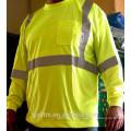 Hola-vis hombres camiseta 100% poliéster aves ojo malla humedad absorbiendo manga larga reflexivo cintas hombres camiseta con bolsillo