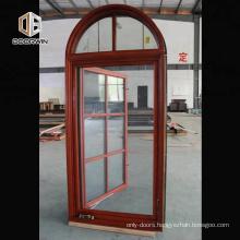 Special shape aluminum and wood crank open window round aluminium fixed windows