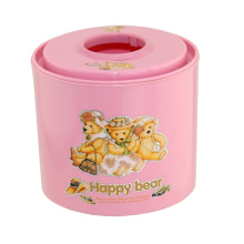Cartoon Printed Plastic Pink Tissue Box