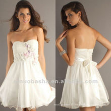 Youth Sweetheart Mini A Line White Small Handmade Flower Beaded Bowknot Graduation Dress Party Gown