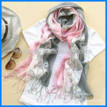 Fashion printed 100% linen scarf shawl