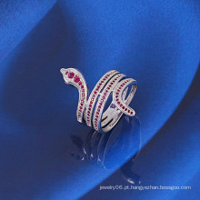 Xuping forma de serpente anel com ouro branco chapeado