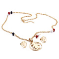 Fashion shiny crystal necklace and earring dubai gold jewelry set