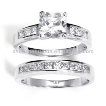 2013 New Products Silver Cubic Zirconia 2-piece Ring Set Vners Supplies
