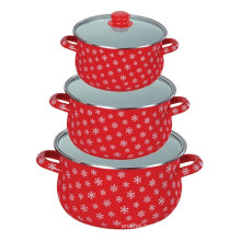 red enamel casserole pot sets with glass lid red enamel casserole pot sets with glass lid
