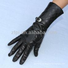 Negro color piel de oveja señoras de cuero guante