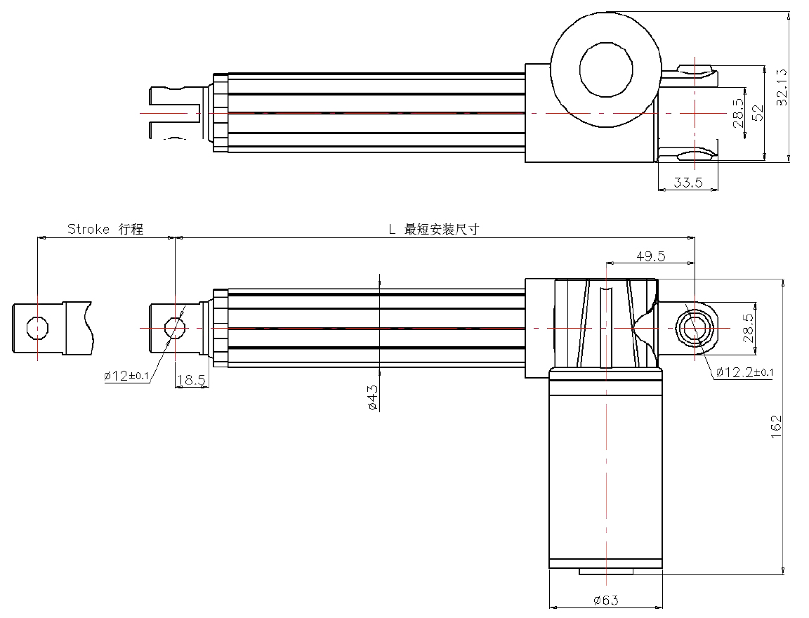 Electric Linear Actuator UL3 dimention