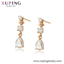 96947 xuping 18 K oro color plateado mujeres pendientes de cristal de simulación