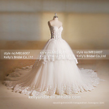 MB16007 Sweethear Corset Wedding Dresses With Tea Length And Lace Appliqued Big Long Train Luxury Wedding Dresses