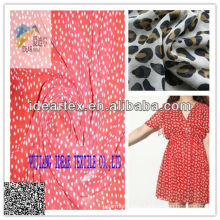 red back white dot print chiffon