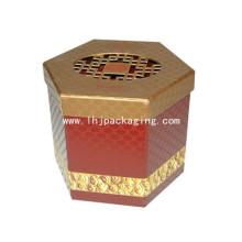 Caja de embalaje de papel de forma hexagonal