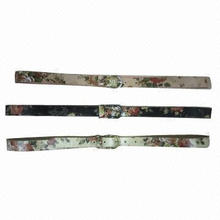 Colorful belts for women, made of PU, with flowers-printed pattern on belt